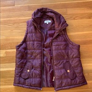 Plum vest with rose gold zippers